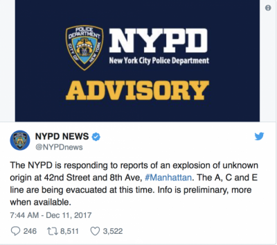 explosion at Port authority